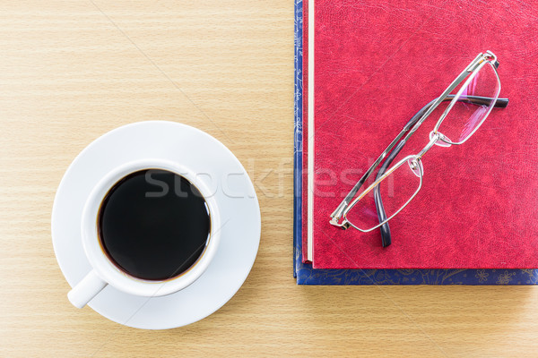 Coffee on a wood table and glasses Stock photo © stoonn