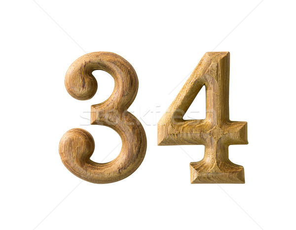 Stock photo: wooden numeric 34