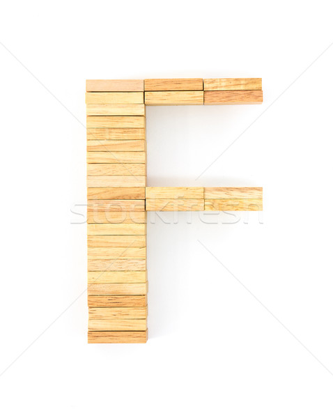 Stock photo: Wooden domino alphabet,F