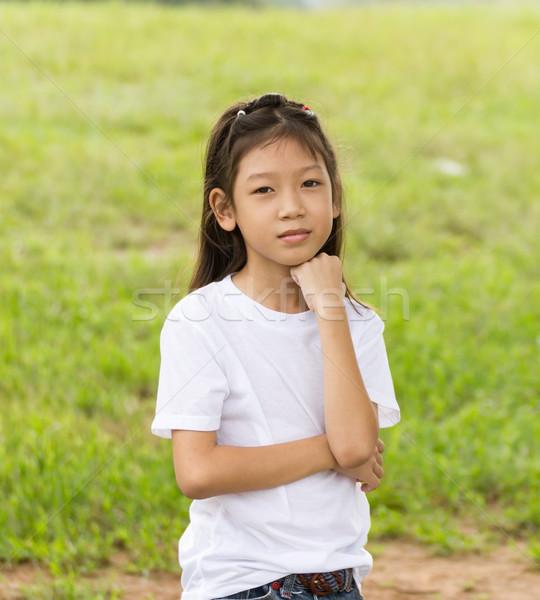 Stock fotó: Portré · ázsiai · fiatal · lány · kint · gyönyörű · fa