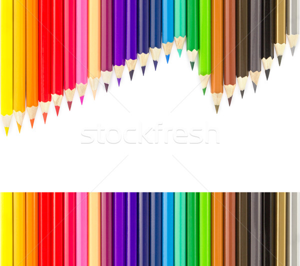 Sets of colored pencils in rows Stock photo © stoonn