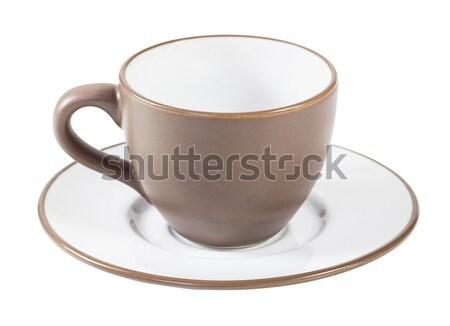 Marrom xícara de café pires branco café prato Foto stock © stoonn