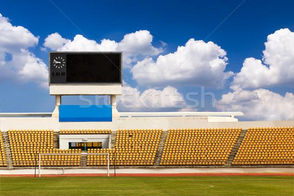 Stadyum sayı tahtası turuncu saat üzerinde Stok fotoğraf © stoonn