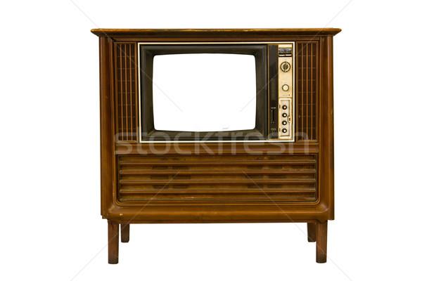 Retro vintage televisión blanco película negro Foto stock © stoonn