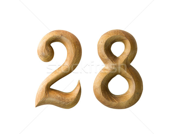Stock photo: Wooden numeric 28