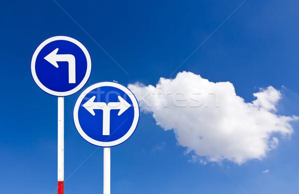 Foto stock: Estrada · sinaleiro · azul · rua · assinar · viajar