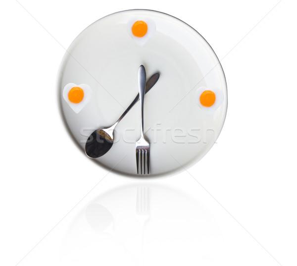 Idő ebéd tükörtojás szív óra vacsora Stock fotó © stoonn