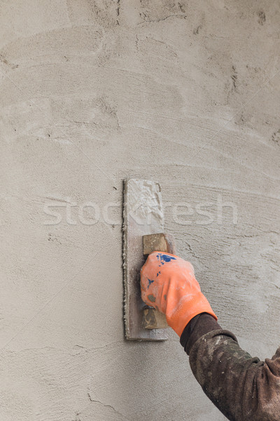 Builder worker plastering concrete Stock photo © stoonn