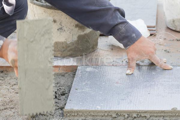 каменщик полу плитка стороны работу Сток-фото © stoonn