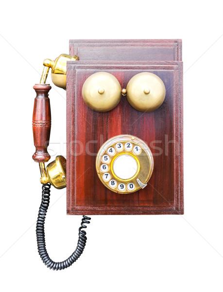 Antik fából készült telefon izolált fehér vágási körvonal Stock fotó © stoonn