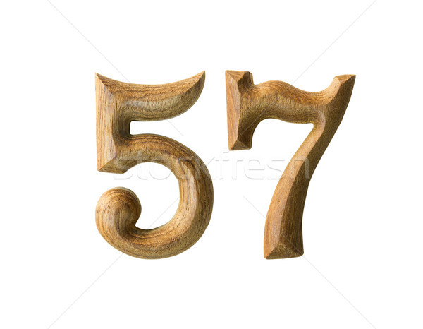 Wooden numeric 57 Stock photo © stoonn