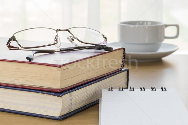 Pen put on notepad open blank page Stock photo © stoonn