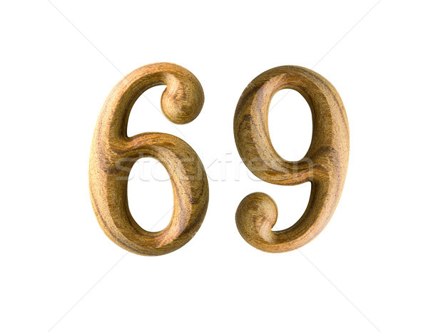 Stock photo: Wooden numeric 69