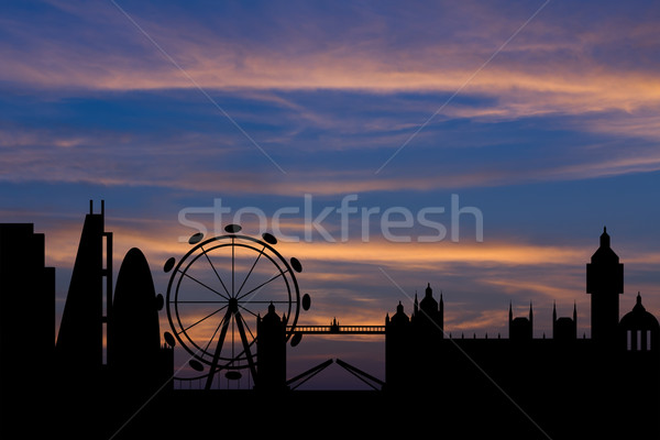 Silhouette background of London city skyline   Stock photo © stoonn
