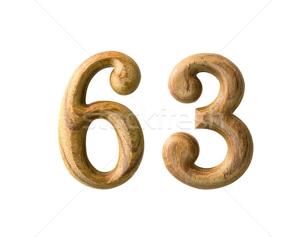 Wooden numeric 63 Stock photo © stoonn