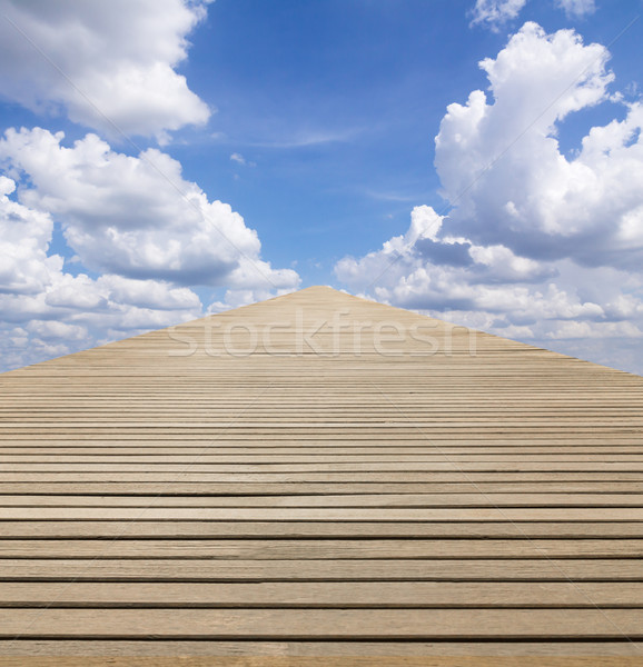 Ahşap yürümek yol mavi gökyüzü bulutlu doğa Stok fotoğraf © stoonn