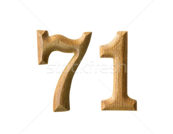 Wooden numeric 71 Stock photo © stoonn