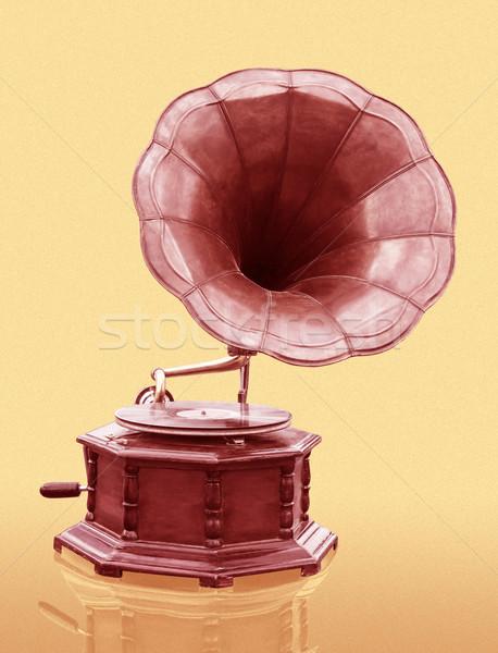 Vintage gramofone disco isolado grunge música Foto stock © stoonn