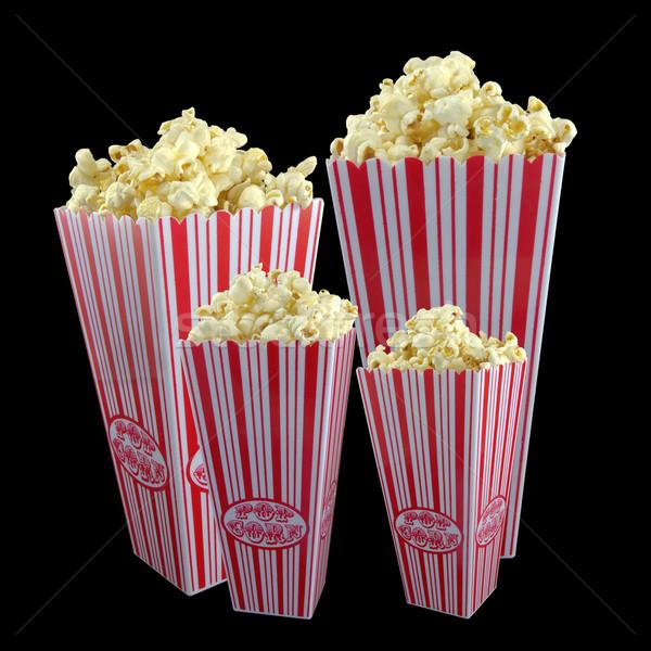 Famille popcorn photos quatre panier comme Photo stock © Stootsy