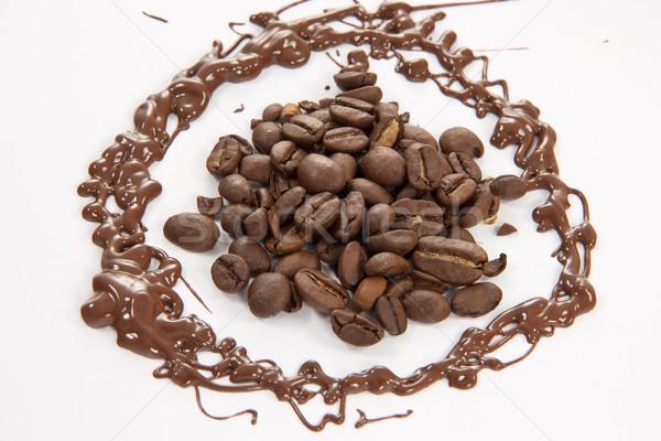 Grains de café fondu chocolat alimentaire café café Photo stock © Stootsy