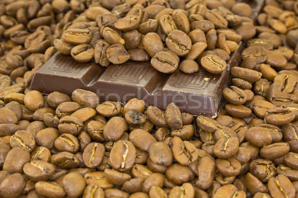 Csokoládé szelet kávé kép kávé csokoládé kávézó Stock fotó © Stootsy