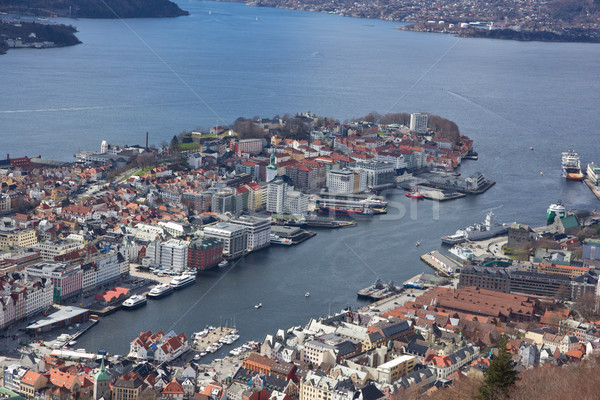 View over the port in Bergen taken from the popular landmark Fløyen. Stock photo © Stootsy