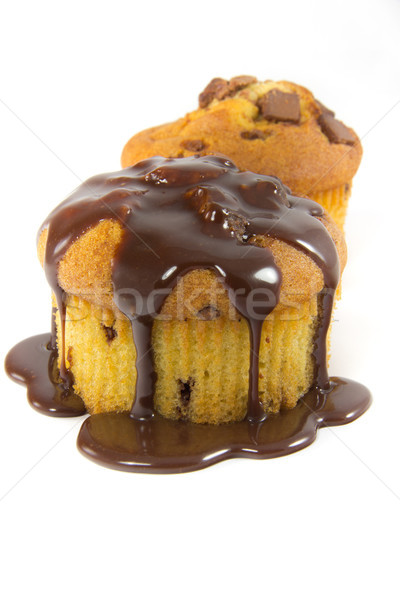 Two muffins with melted chocolaet Stock photo © Stootsy