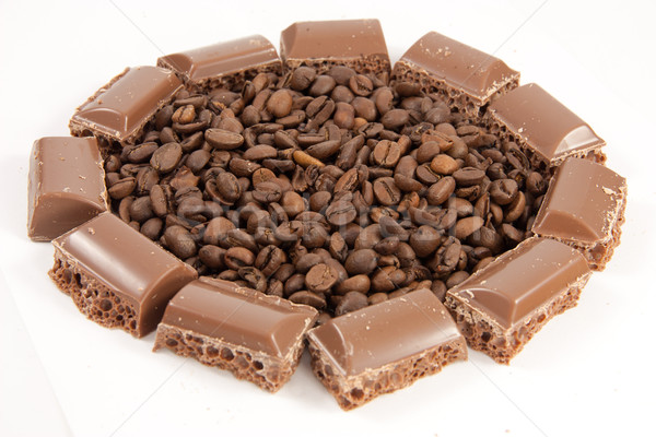 Chocolat château café énergie grains de café bean Photo stock © Stootsy