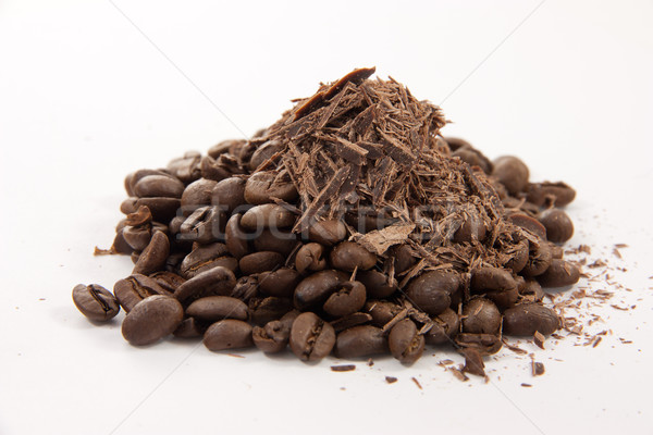 Coffee beans with chocolate dust Stock photo © Stootsy