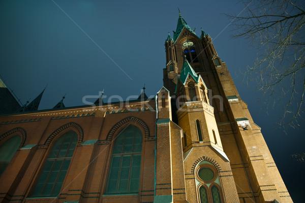 Norvegia notte foto chiesa città cielo Foto d'archivio © Stootsy