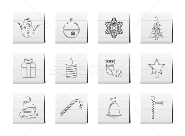 Zdjęcia stock: Piękna · christmas · zimą · ikona · wektora