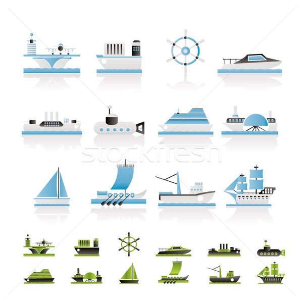 different types of boat and ship icons  Stock photo © stoyanh