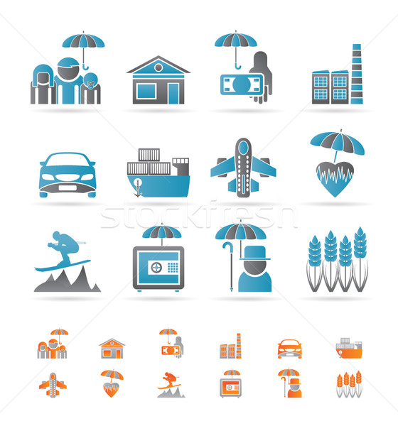 different kind of insurance and risk icons Stock photo © stoyanh