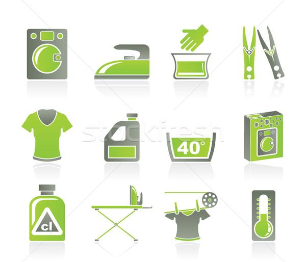 Washing machine and laundry icons  Stock photo © stoyanh