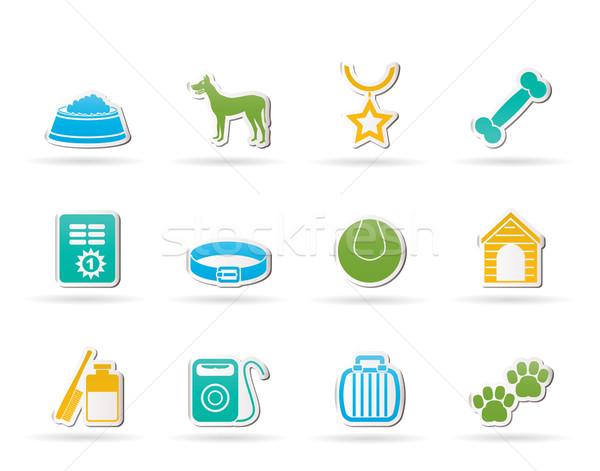 Foto stock: Cão · símbolos · ícones · vetor · fundo