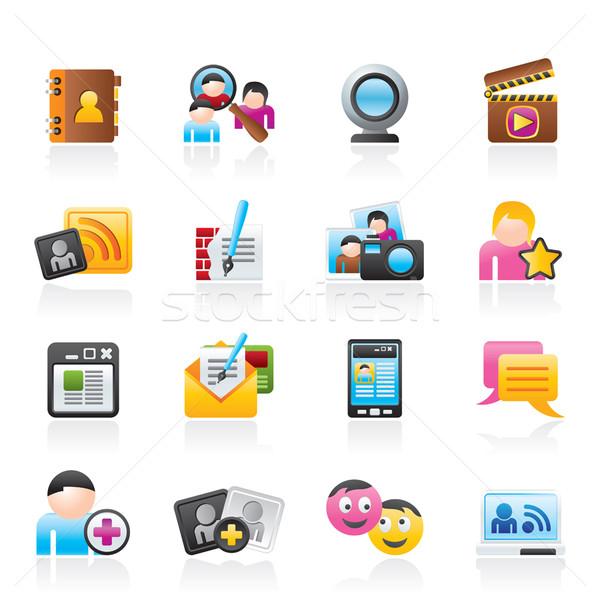 Sociale réseau communication icônes vecteur Photo stock © stoyanh