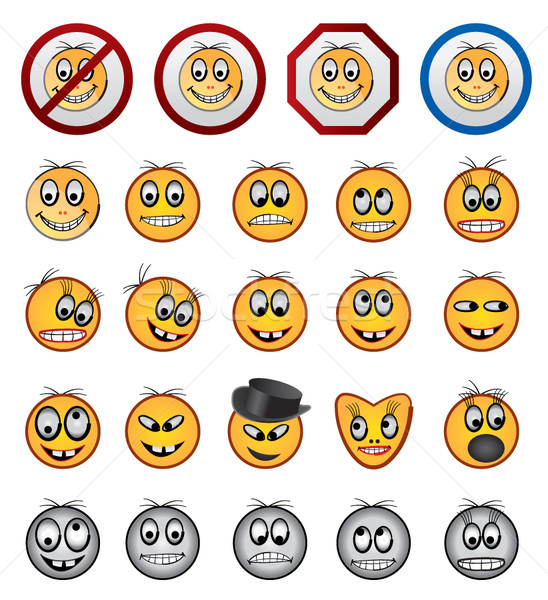 different kinds of Smiling faces icons Stock photo © stoyanh