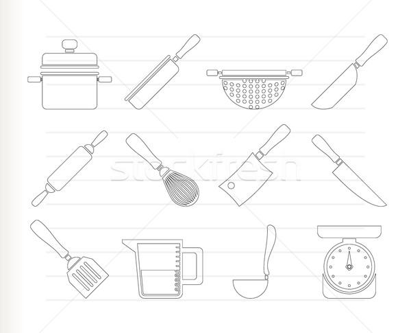 Foto stock: Cozinhar · equipamento · ferramentas · ícones · vetor