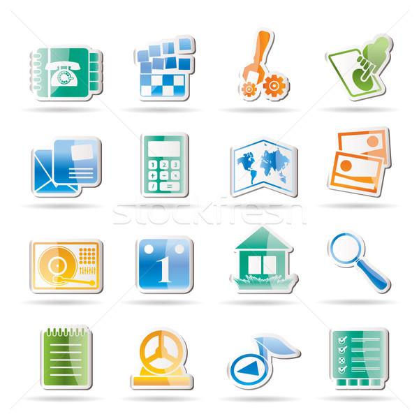 Stock fotó: Mobiltelefon · számítógép · ikon · vektor · ikon · gyűjtemény · üzlet · számítógép
