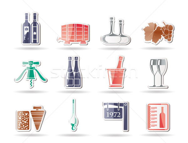 Stock photo: Wine and drink Icons