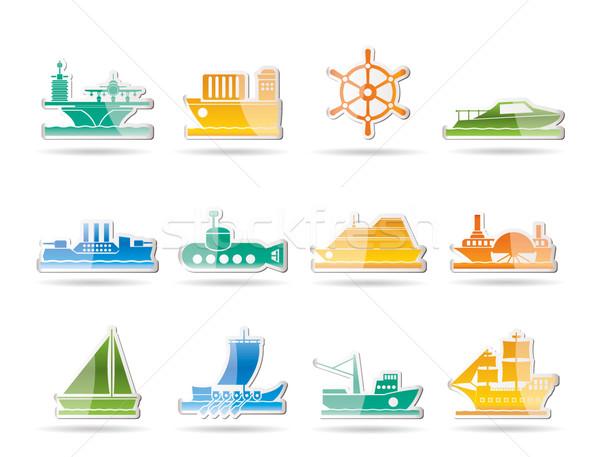 Сток-фото: различный · лодка · судно · иконки · вектора