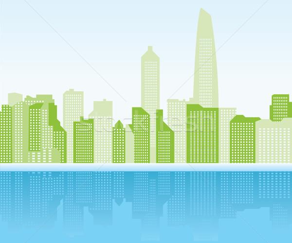 зеленый город Шанхай небе строительство солнце Сток-фото © stoyanh