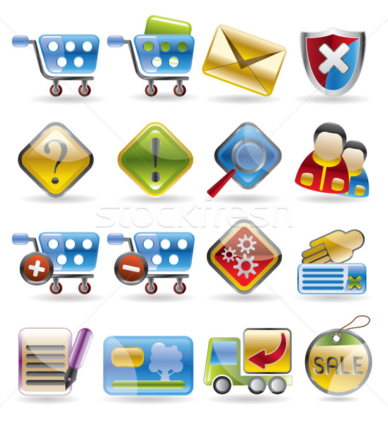 Online winkel iconen vector business Stockfoto © stoyanh