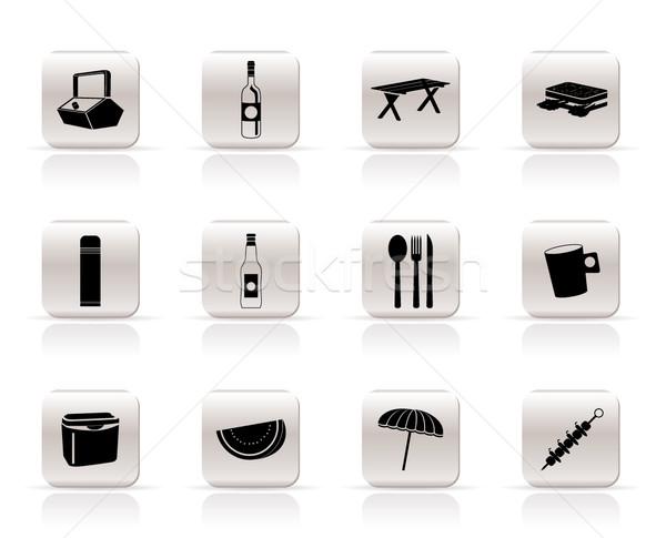Photo stock: Simple · pique-nique · vacances · icônes · vecteur