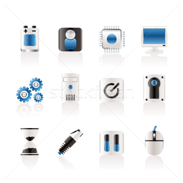 Computer and mobile phone elements icon  Stock photo © stoyanh