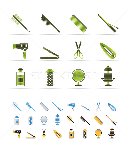 hairdressing, coiffure and make-up icons - vector Icon Set   - 3 colors included Stock photo © stoyanh