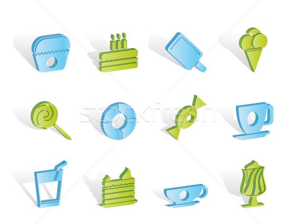 Zoet voedsel banketbakkerij iconen vector voedsel Stockfoto © stoyanh