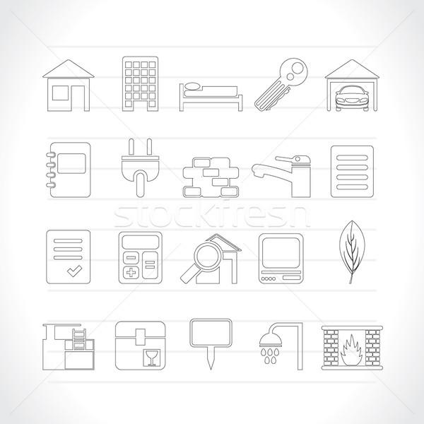 Foto stock: Imóveis · edifício · ícones · vetor · negócio