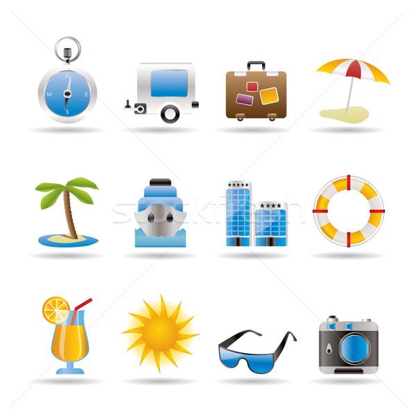 Utazás ünnep utazás ikonok vektor ikon gyűjtemény Stock fotó © stoyanh