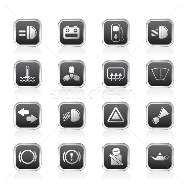 Autó műszerfal egyszerű vektor ikon szett internet Stock fotó © stoyanh
